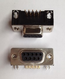 DB9 Right Angle PCB mount Female without board locks - 2 pc pack